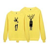 Wholesale Happy Bag Couple Models Cartoon Mrs Deer Mr Deer Thickened Round Neck Hoodie Sweatshirt pc