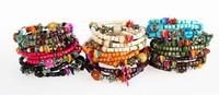 wood bangles - National wood bead bracelet restoring ancient ways Starfish bracelet with shells Multi loop bangle Fashion women jewelry