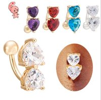 Wholesale Stock Piercings Body Jewelry New Fashion Navel Buckle Rings Double Love Heart Zircon Korean Personality belly button Ring super hot selling