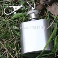 Wholesale oz Portable Mini Stainless Steel Metal Hip Flask Outdoor Pocket Wine Flagon Alcohol Bottle With Keychain g