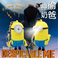 Wholesale 2014 Hot Sales Despicable Me Cute Minion LED Keychain Key Chain Ring Flashlight Torch Sound Toy Promotion Novelty Gift Lover children