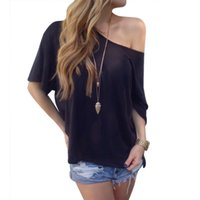 Wholesale Women Sexy Casual Solid Off Shoulder Loose T shirts OFF Shoulder Tops Hot Clothes Colors PY1