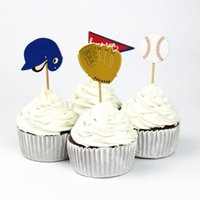 baseball birthday decorations - 72pcs Sport Baseball Party Supplies Cartoon Cupcake Toppers Pick Kid Boy Birthday Party Decorations
