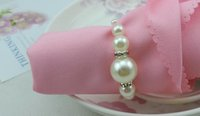 Wholesale 2015 New Top Quality White Pearls Napkin Rings Hotel Wedding Banquet Table Decoration Accessories Party Supplies