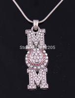 baseball mom - New Arrival a zinc Heirloom Finds Baseball Softball Mom Pave Crystal Pendant chain necklace