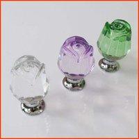glass drawer pulls - 10Pcs Furniture Hardware Crystal Glass Rose Kitchen Drawer Handle Knobs Clear Green Purple Furniture Knob Door Handles Pull