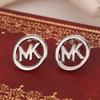 14k gold earrings - Fashion Round stud earrings sterling silver gold plated letters M earings Brand designer Wedding Jewelry for women K