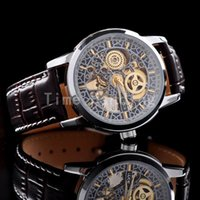 automatic skeletons - Brown Fashion Automatic Mechanical Skeleton Mens Wrist Watch