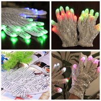 Wholesale 2016 hot sale Adult cotton sequins led glove for bars Party Flashing Glow Light LED gloves for part concert prop