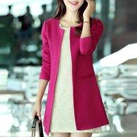 Cheap Women Long Blazer Jackets 4 Colors New Fashion Solid Casual Plus Size Coat Blazer Feminino 2014 Free Shipping WWX140