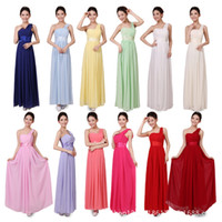 Wholesale Plus Size long wedding dress formal party dresses one shoulder chiffon modest candy Bridesmaid dresses gown