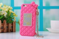 Cheap luxury metal logo hello kitty chain cartoon silicon phone cover case for iphone6 free shipping