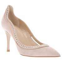 nude pumps - Elegant Nude Dress Shoes Rivet High Wrapped Heels Pointed Closed Toes OL Shoes for Women Pumps Brushed Leather Slip ons Spring Valentine
