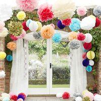 Wholesale 20cm quot pc Tissue Paper Pom Poms Wedding Party Festival Decoration Wedding Decorative Props Supplies Decorative Flowers