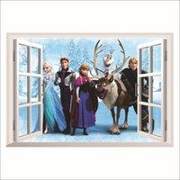 Wholesale Queen Elsa deer prince Frozen D Wall Stickers Olaf Decorative Wall Decal Cartoon Wallpaper Kids Frozen Decoration Christmas wide sticker
