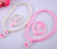Cheap NEW Kids Children princess Cartoon Kitty Cat Charms Necklace Beaded Strand Necklace performance necklace bracelet Ring 3in1 jewelry Set HH42