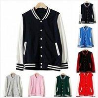 blank baseball jacket - Hotsale Vintage Autunm Korean Unisex Blank Varsity Jacket Jumper Long Sleeve Plain Baseball Coat Colors S XXL C46010