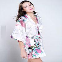 satin robe - 2015 Silk Kimono Robe Bathrobe Women Satin Robe Robe Longue Femme For Women Night Sexy Robes Night Grow For Bridesmaid Summer