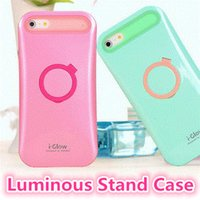 i-glow cases - i Glow PC Back Cover Case for iPhone s plus s Slim Luminous Shell with Card Slot Ring Holder