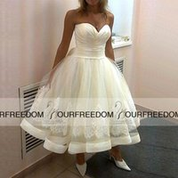 beauty wave make - 2016 Spring Summer Mid Calf Wedding Dresses Sweetheart Backless Cheap Beauty Ball gown Garden Lace Sheer Skirt Wedding Bridal Gowns