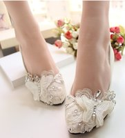 evening shoes - Designer handmade lace bowknot diamond princess shoes high heel round head shoes evening party bridal wedding shoes yzs168