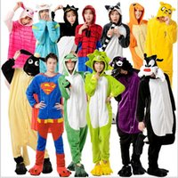 Wholesale 2015 AAA quality Flannel sizes color minnions spiderman superman men women lovers pajamas sleepwear nightwear Onesies TOPB1659