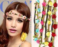 Wholesale Fashion Womens Bohemia Beach Flower Hair Bands Headband Hair Accessory Headwear Beach flowers hair hoop head ornaments Bride Headdress