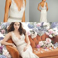 Wholesale Vintage Lace Wedding Dresses Beach Jim Hjelm New Arrival Deep V Neck Sweep Train V Back Sash Boho Bridal Gowns Custom Made