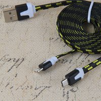 Cheap Hot Micro USB Braided Fabric Charger Data Sync Nylon Flat Noodle Cable Cord 1M 2M 3FT 6FT for I phone 4 5 4s 5s Samsung Galaxy S6 Note 4