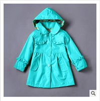 Wholesale Ruffled Trench Coat Baby Girls Hooded Wind and Water Resistant Winter Coat Hoodies Winter Outwear Boutique Clothing Girls Clothes