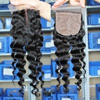 Cheap Grade 7A Brazilian Indian European Russian loose wave hair weave three way part silk base lace closure 4x4 closure natural wavy wave