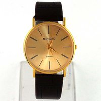 Wholesale Golden Fashion Gentle Mens Womens Wristwatches Men Synthetic Leather Band Analog Quartz Wrist Watches Watch