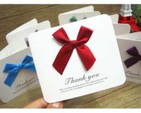 Wholesale Free ship pc Beautiful satin bow blessing thank you cards message bless festival card flowers with gift card order lt no tracking