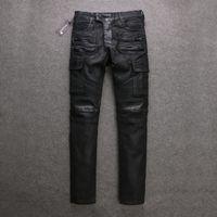 black jeans - Mens Balmain jeans men Balmains Cargo Black Wax Coating biker jeans size