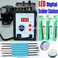 Wholesale W D ESD Soldering Station LED Digital Solder Iron desoldering station BGA Rework Solder Station Hot Air Gun order lt no