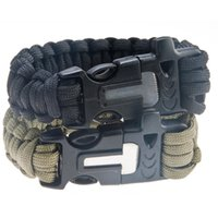 Wholesale Survival Flint Fire Starter Paracord Whistle Gear Buckle Camping Ignition Equipment Rescue Rope Travel Kit