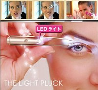 Wholesale Stainless Steel Pluck Eyelash Eyebrow Hair Removal Tweezers Remover Make Up Tool With LED light with battery DHL Free