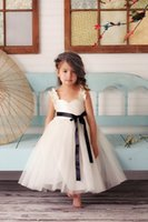 black and white flower girl dresses - Black and White Flower Girl Dresses Ivory Tutu Tulle Dress with Straps Ankle Length Ball Gown White Flower Girl Dress Cheap Backless Cute