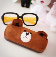 Wholesale Kawaii Brown Bear Cartoon Glasses Box Glasses Case Lovely Spectacles Case Eyeglasses Case Retail TRD