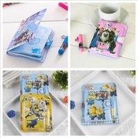 Wholesale 2016 Frozen Minions Notebooks pencil pouches plastic pencil case notebook stationery sets pen office gifts note books office supplies