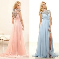 Wholesale Collar Split Beads Embroidery Pink Chiffon Prom Dresses Sexy Cap Sleeves Long Formal Dress Gown