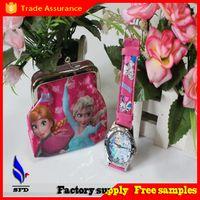bag tags kids - christmas gift Frozen Elsa Anna princess kid children s girl coin purse bag wallet watch set cartoon cute watch