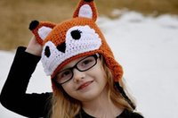 Boy Winter Crochet Hats Free Shipping Crochet Pattern Fox Knitted Hat Baby Boys Girls Cartoon Animal Caps Infant Toddler Kids Winter Crochet Beanie Photography prop
