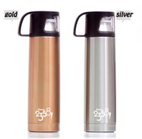 Wholesale Vacuum cup For gentleman Stainless Steel Drink mug Outdoor Sport Coffee Beverage Water Bottle Vacuum Flasks Thermoses size gold silver