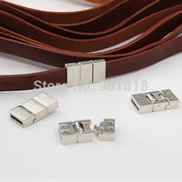 Cheap 10pc lot Hole 2*11mm Flat Leather Cord End Clasps With Screw End Cap For Bracelet Jewelry DIY Findings F1984