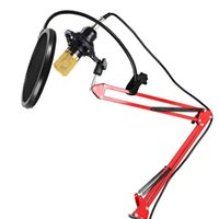 Wholesale New USB Condenser Sound Recording Microphone Adjustable Metal Scissor Arm Microphone Stand Holder Mic Wind Screen Pop Filter