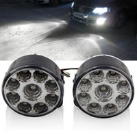 Cheap 2 X Bright White 9W LED Car Light Round Day Fog Head Lamp Car DRL Driving Daytime Running Light Electronics For Cars 2014 New