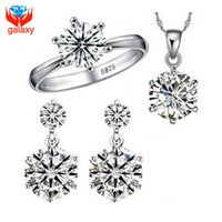 Wholesale Hot Sale Sterling Silver Bridal Jewelry Sets Carat Cubic Zircon Diamond Ring Necklace Earrings Wedding Jewelry Sets ZS1264