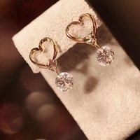 Wholesale 2015 Swarovski Love Zircon Diamond Bulk Heart Austrian Crystal Earings Studs Cross Earring Crystal Allergy Bling Jewelry Chandelier Earrings