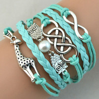 animal wrist bands - Unique Infinity Bracelets Antique Charm Giraffe Owl Infinity Braided Mix Colors Leather Bracelets Fashion Wrist Bands Jewellery Drop Shpping